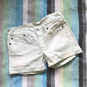 Madewell Cuffed White / Light Blue Jean Shorts